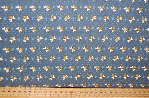 fabric shack sewing quilting sew fat quarter cotton quilt patchwork gail pan henry glass all about the bees bumble honey grid flower floral hastag blue cream green (4)
