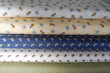 fabric shack sewing quilting sew fat quarter cotton quilt patchwork gail pan henry glass all about the bees bumble honey grid flower floral hastag blue cream green (6)