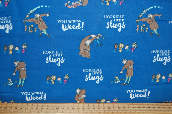 fabric shack sewing quilting sew fat quarter cotton quilt patchwork roald dahl quentin blake quintin matilda books library miss honey trunchball blue