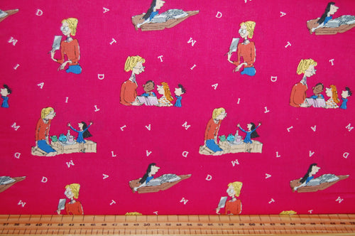 fabric shack sewing quilting sew fat quarter cotton quilt patchwork roald dahl quentin blake quintin matilda books library miss honey trunchball friends dark pink