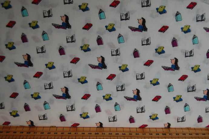 fabric shack sewing quilting sew fat quarter cotton quilt patchwork roald dahl quentin blake quintin matilda books library miss honey trunchball multi book white