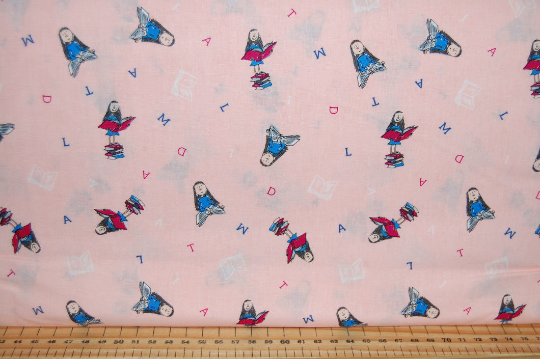 fabric shack sewing quilting sew fat quarter cotton quilt patchwork roald dahl quentin blake quintin matilda books library miss honey trunchball reading peach