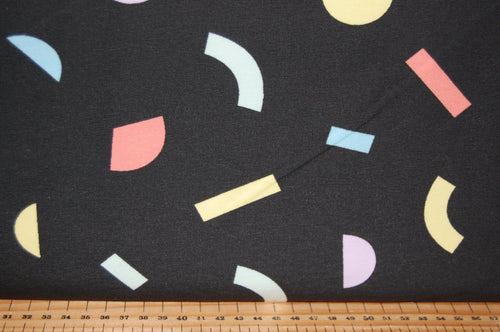 fabric shack sewing quilting sew fat quarter cotton quilt patchwork tilly & and the buttons organic Jersey gots stretch knit geo geometric pattern black