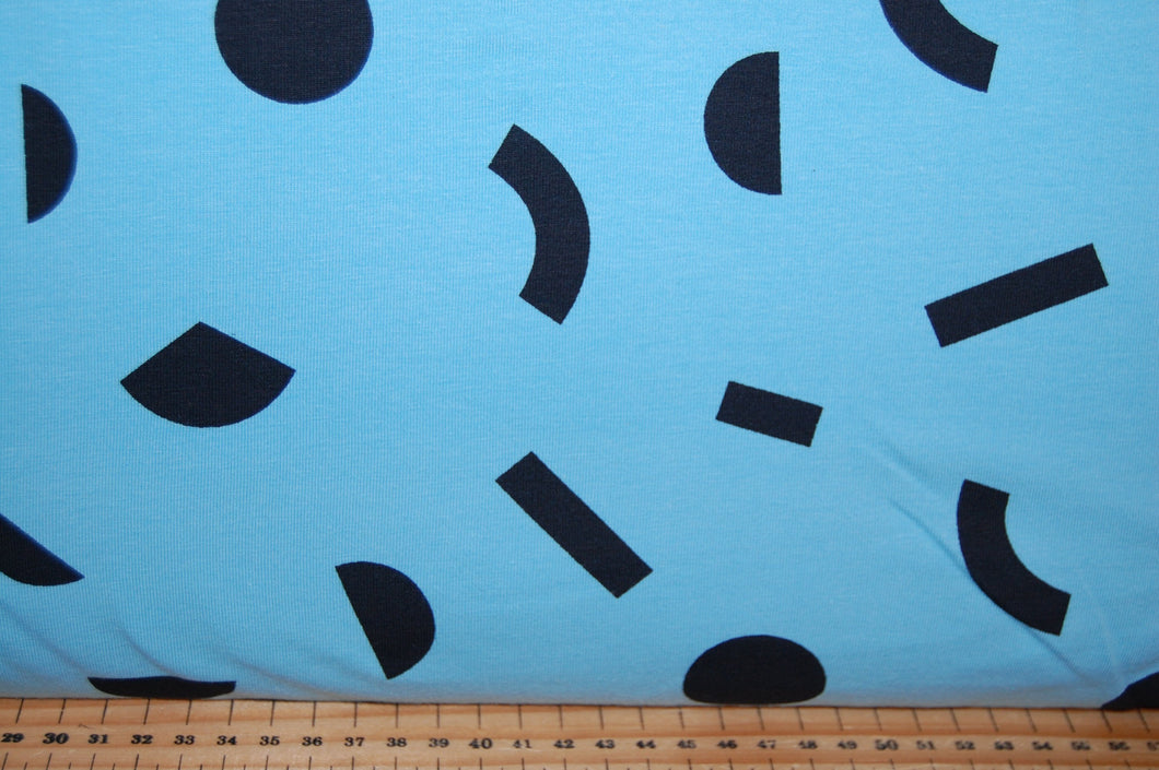 fabric shack sewing quilting sew fat quarter cotton quilt patchwork tilly & and the buttons organic Jersey gots stretch knit geo geometric pattern blue