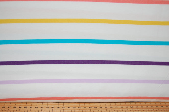 fabric shack sewing quilting sew fat quarter cotton quilt patchwork tilly & and the buttons organic Jersey gots stretch knit rainbow stripe white