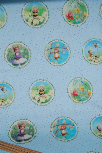 fabric shack sewing quilting sew fat quarter cotton quilt pathcowrk dressmaking kids dress border print the pixie collection  dandelions seeds perfect parade flight fantasy cat bumble bee (2)