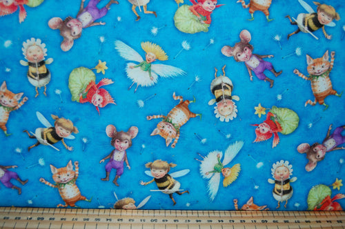 fabric shack sewing quilting sew fat quarter cotton quilt pathcowrk dressmaking kids dress border print the pixie collection  dandelions seeds perfect parade flight fantasy cat bumble bee