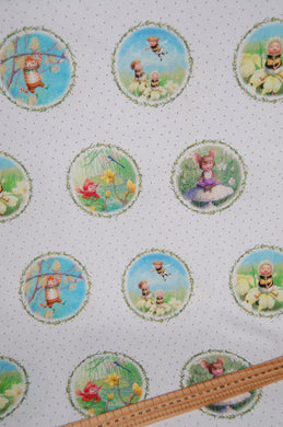 fabric shack sewing quilting sew fat quarter cotton quilt pathcowrk dressmaking kids dress border print the pixie collection delicate dandelions seeds perfect parade flight of fantasy cat bumble bee