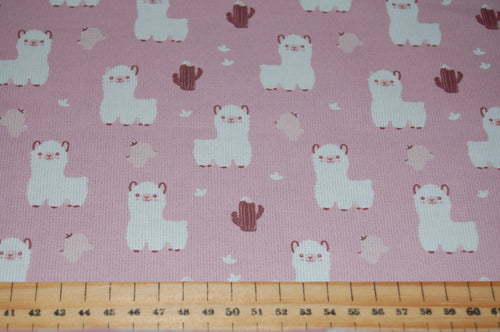 fabric shack sewing quilting sew fat quarter cotton quilt pathcwork fabric wonder ribbed cotton little baby llamas alpacas rose pink baby blue