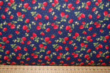 fabric shack sewing quilting sew fat quarter cotton quyilt patchwork dressmaking rose & and hubble strawberries strawberry navy blue patch picnic