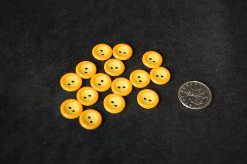fabric shack sewing sew cotton dressmaking trimits kids buttons orange rimmed yellow 11mm g435918 1