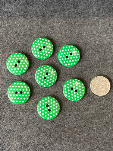 fabric shack haberdashery sewing dressmaking buttons 2 hole green polka dot 20mm