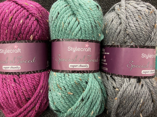 fabric shack knitting crochet knit wool yarn stylecraft special xl super chunky tweed various colours
