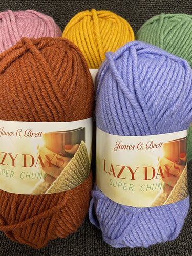 fabric shack knitting knit crochet wool yarn james c brett lazy days super chunky 100g various colours
