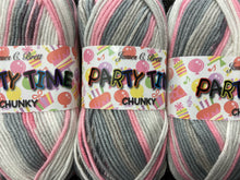 fabric shack knitting knit crochet wool yarn james c brett party time partytime chunky grey pink pt11