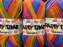 fabric shack knitting knit crochet wool yarn james c brett party time partytime chunky multi rainbow brights pt4