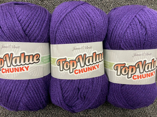 fabric shack knitting knit crochet wool yarn james c brett top value chunky purple TC08