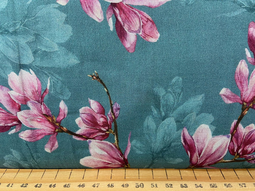 fabric shack sewing dressmaking clothes making cotton lawn digital print magnolia teal blue