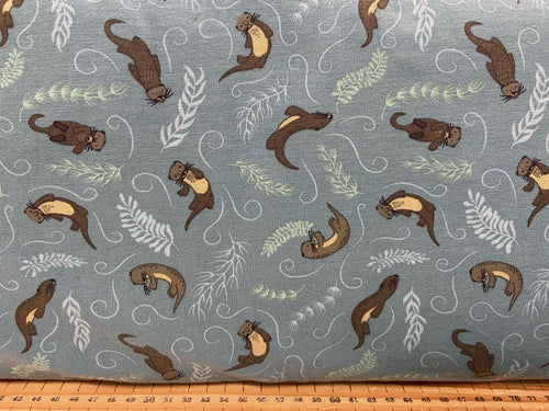 fabric shack sewing dressmaking clothes making t-shirt jersey stretch small things country creatures otters otter teal