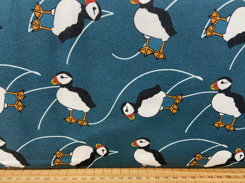 fabric shack sewing dressmaking sew organic jersey knit puffins puffin blue