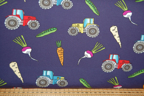 fabric shack sewing quilting sew cotton quilt dressmaking cleo fabrics gots certified global organic textile standard organic jersey tractors turnips carrots parsnip vegetables