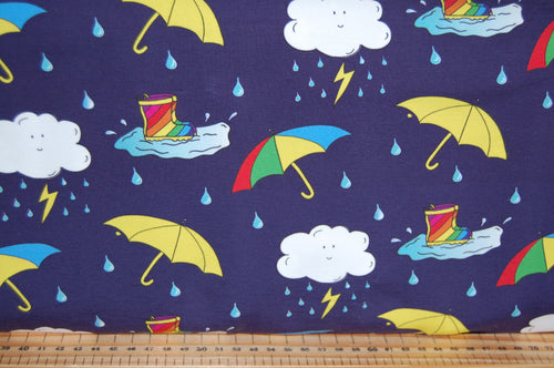 fabric shack sewing quilting sew cotton quilt dressmaking cleo fabrics gots certified global organic textile standard organic jersey umbrellas brollies welly wellies rain rainy day splish splash