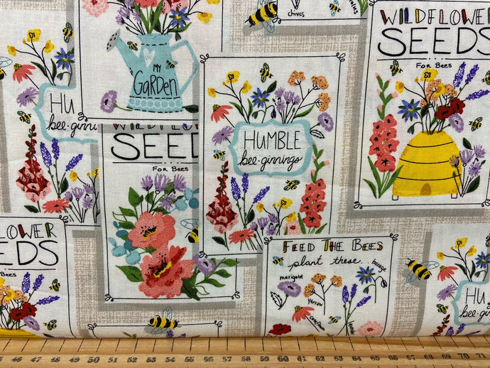 fabric shack sewing quilting sew fat quarter cotton patchwork quilt 3 three wishes feed the bees bumble hives garden seeds