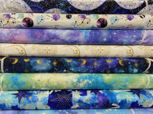 fabric shack sewing quilting sew fat quarter cotton patchwork quilt 3 three wishes magical galaxy metallic twilight sky glitter airglow green