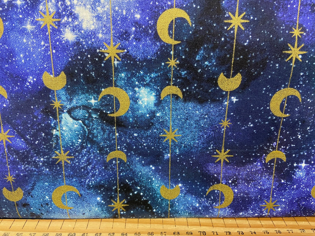 fabric shack sewing quilting sew fat quarter cotton patchwork quilt 3 three wishes magical galaxy metallic stars moon strings gold