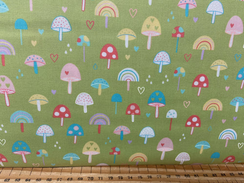 fabric shack sewing quilting sew fat quarter cotton patchwork quilt abi hall moda hello sunshine mushroom toadstool grass green