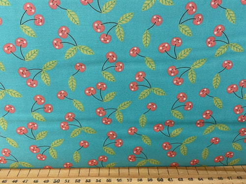 fabric shack sewing quilting sew fat quarter cotton patchwork quilt abi hall moda hello sunshine mushroom toadstool rainbow cherry cherries teal 2