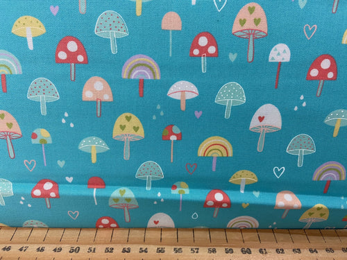 fabric shack sewing quilting sew fat quarter cotton patchwork quilt abi hall moda hello sunshine mushroom toadstool rainbow cherry cherries teal 3