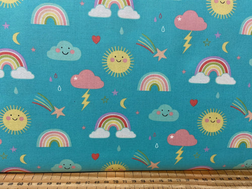 fabric shack sewing quilting sew fat quarter cotton patchwork quilt abi hall moda hello sunshine sunshine rainbow cloud aqua blue