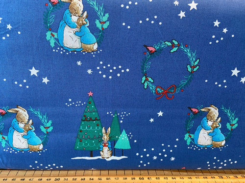 fabric shack sewing quilting sew fat quarter cotton patchwork quilt beatrix potter peter rabbit christmas holidays mrs rabbit presents wreath sledging gifts