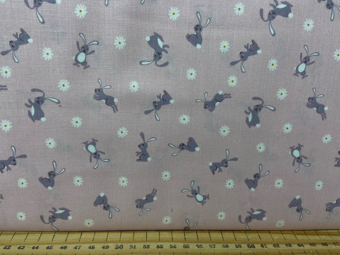 fabric shack sewing quilting sew fat quarter cotton patchwork quilt bunny hop rabbit chicken easter bunny and daisy pink
