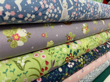 fabric shack sewing quilting sew fat quarter cotton patchwork quilt bunny hop rabbit chicken easter chicks light purple
