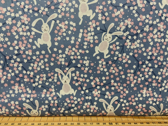 fabric shack sewing quilting sew fat quarter cotton patchwork quilt bunny hop rabbit chicken easter swinging bunnies denim