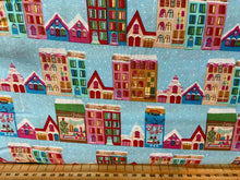 fabric shack sewing quilting sew fat quarter cotton patchwork quilt city snow snowman snowball girl shopping gifts presents houses cars trees street roofs rooftops 5