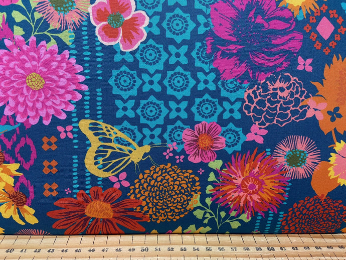 fabric shack sewing quilting sew fat quarter cotton patchwork quilt crystal manning for moda kasada flowers moths teal blue