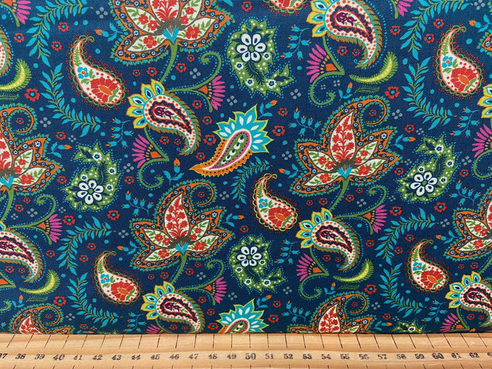 fabric shack sewing quilting sew fat quarter cotton patchwork quilt crystal manning for moda kasada paisley teal blue