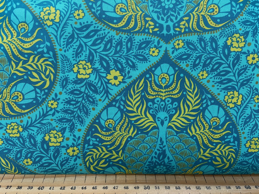 fabric shack sewing quilting sew fat quarter cotton patchwork quilt crystal manning for moda kasada peacock pod teal blue