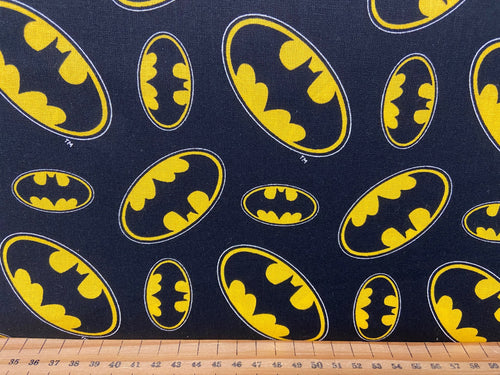 fabric shack sewing quilting sew fat quarter cotton patchwork quilt dc comics batman logo comic book boom wham 3