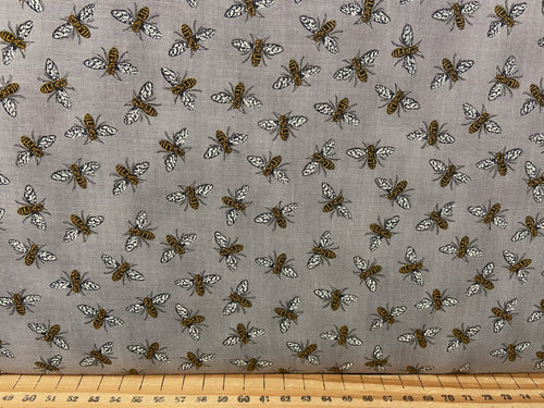 fabric shack sewing quilting sew fat quarter cotton patchwork quilt deb strain moda bee grateful bees hives sunflowers save the beees honey flowers flower bees grey pebble