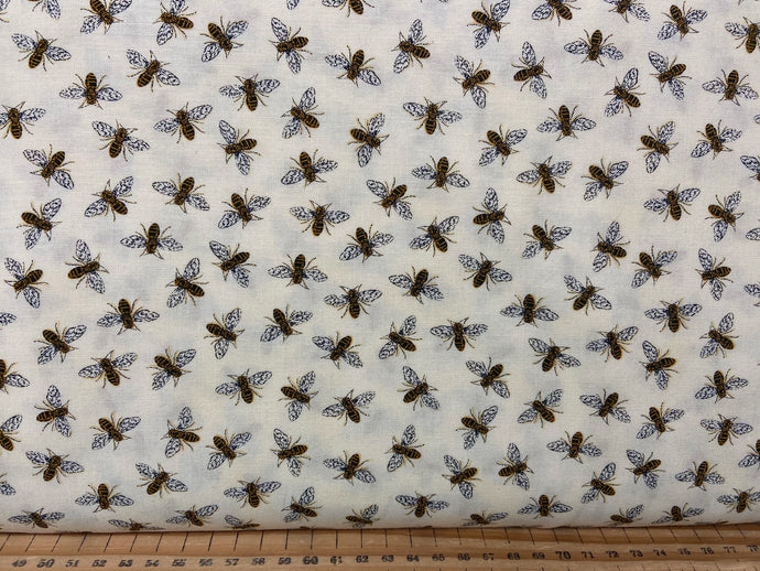 fabric shack sewing quilting sew fat quarter cotton patchwork quilt deb strain moda bee grateful bees hives sunflowers save the beees honey flowers flower bees natural cream parchment