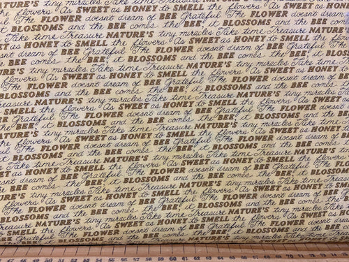 fabric shack sewing quilting sew fat quarter cotton patchwork quilt deb strain moda bee grateful bees hives sunflowers save the beees honey flowers flower script yellow