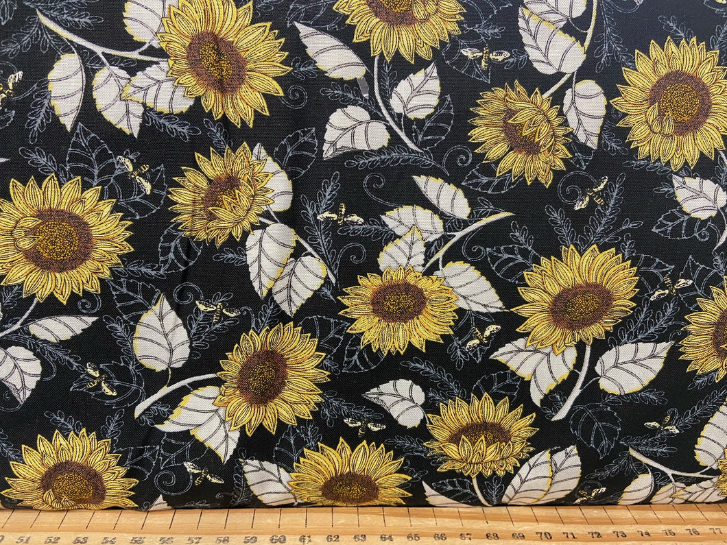 fabric shack sewing quilting sew fat quarter cotton patchwork quilt deb strain moda bee grateful bees hives sunflowers save the beees honey flowers flower sun flower ebony black