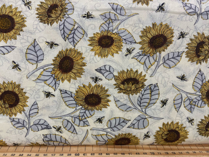 fabric shack sewing quilting sew fat quarter cotton patchwork quilt deb strain moda bee grateful bees hives sunflowers save the beees honey flowers flower sun flower natural cream