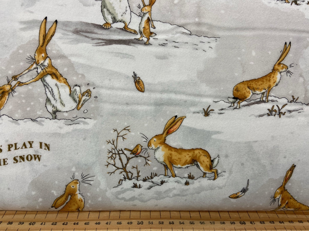 fabric shack sewing quilting sew fat quarter cotton patchwork quilt guess how much I love you snow winter nut brown hare flannel white