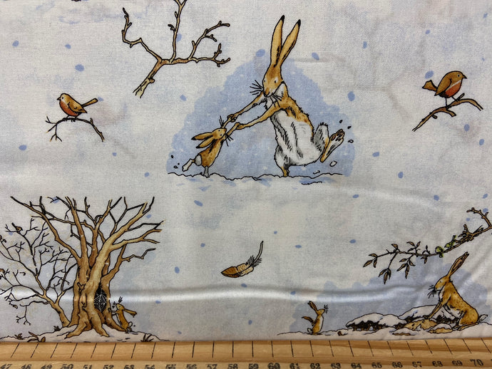 fabric shack sewing quilting sew fat quarter cotton patchwork quilt guess how much I love you snow winter nut brown hare woodland blue denim