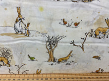 fabric shack sewing quilting sew fat quarter cotton patchwork quilt guess how much I love you snow winter nut brown hare woodland cream